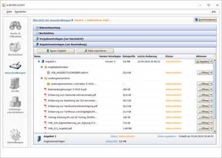 Screenshot - Benutzeroberfläche Angebotsabgabe mit der Bietersoftware AI Bietercockpit