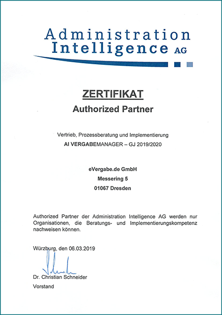 Zertifikat - evergabe.de ist Authorized Partner der Administration Intelligence GmbH