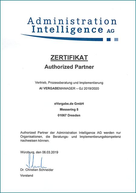 Zertifikat - evergabe.de ist Authorized Partner der Administration Intelligence GmbH