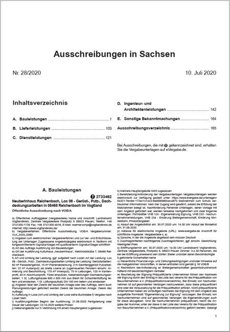 Ausschreibungsblatt Sachsen
