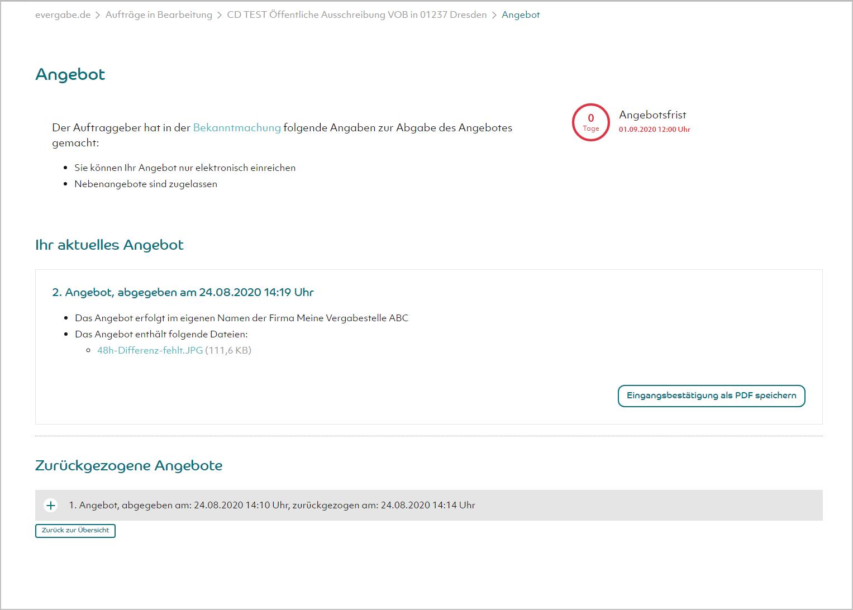 Screenshot - Benutzeroberfläche Angebotsabgabe auf evergabe.de