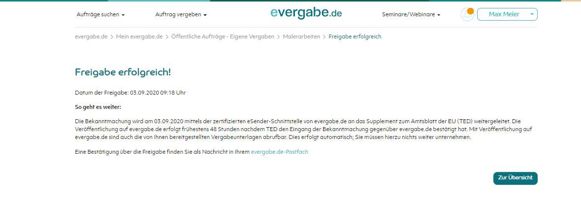 Screenshot Weiterleitung an TED auf evergabe.de